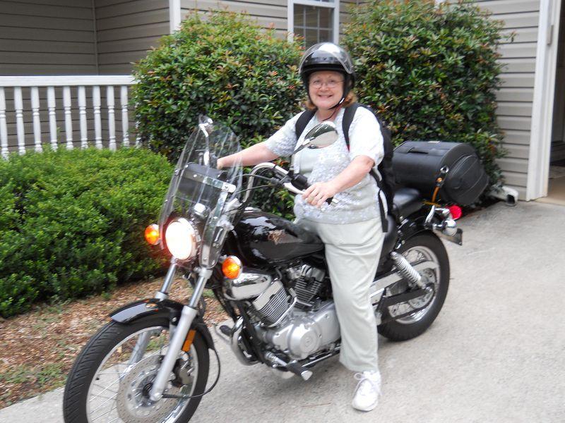 Kathy on Motorcycle
