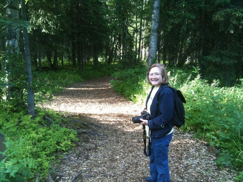 Kathy at botanical gardens