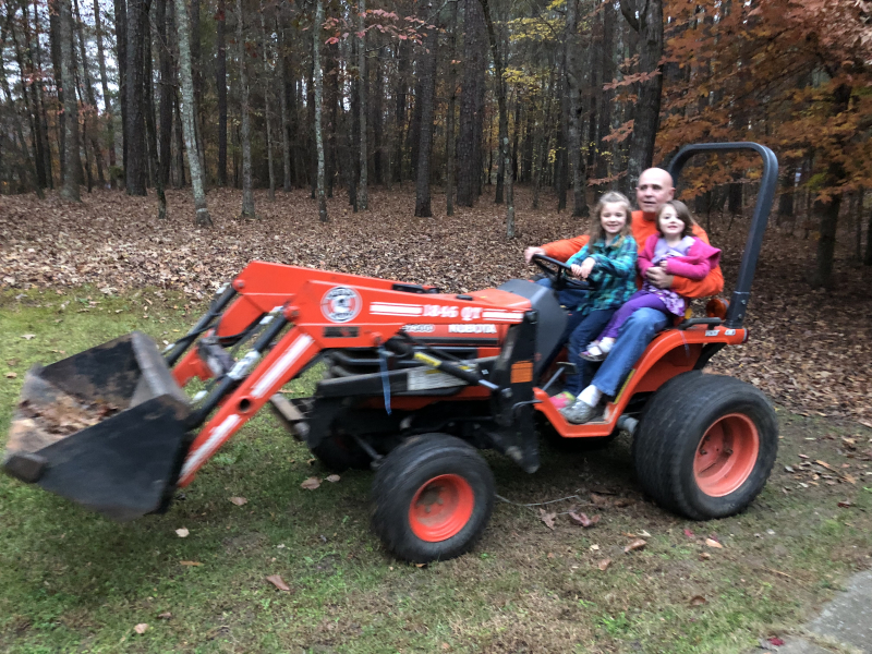 Vera and Violet On Tractor