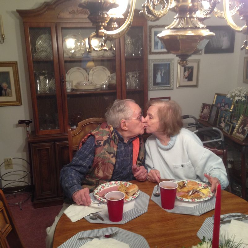 Mom and dad kiss